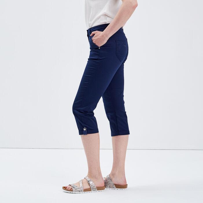 Pantacourt ajusté bleu marine femme
