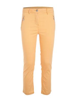 Pantalon raye zippe aux poches jaune or femme