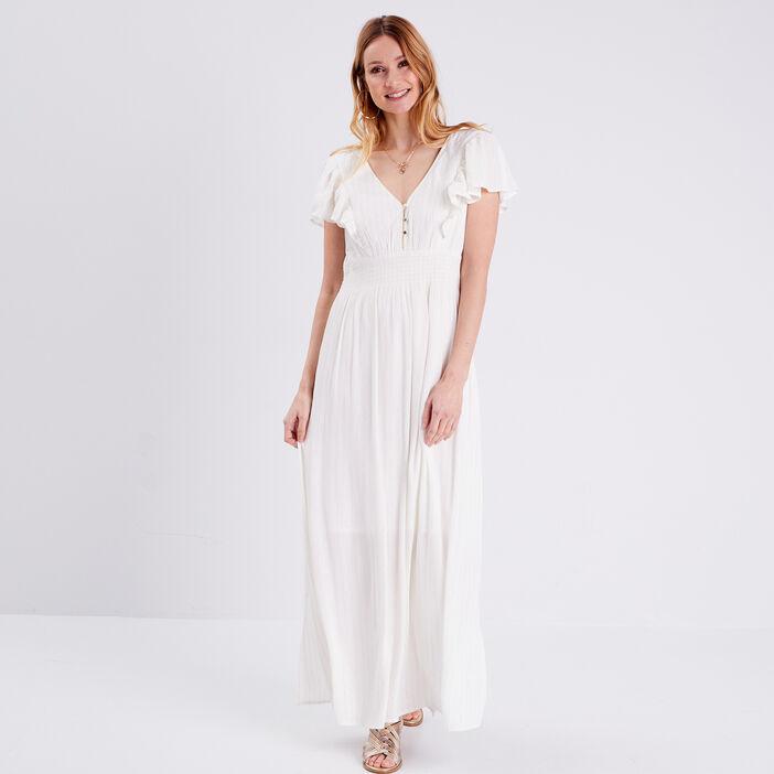 Robe longue droite fluide ecru femme