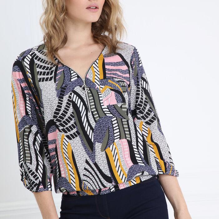 Blouse manches 3/4 zippée multicolore femme
