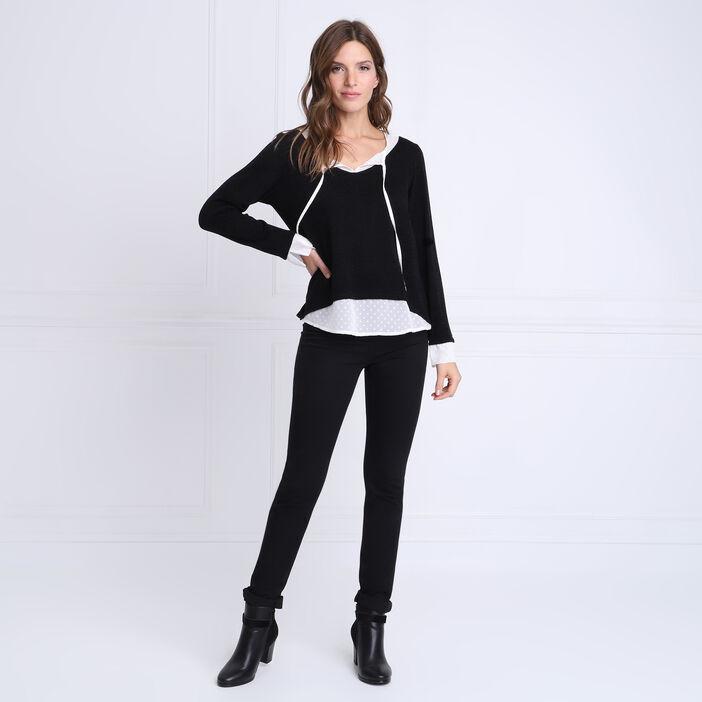 T-shirt manches longues 2-en-1 noir femme