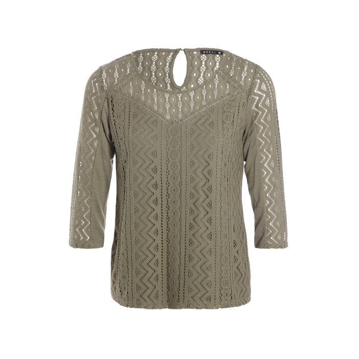 T-shirt bimatière col rond manches 3/4 vert kaki femme