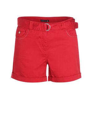 Short uni detail ceinture rouge femme