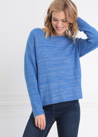 Pull manches longues bleu femme