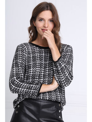 Pull manches 34 col rond noir femme