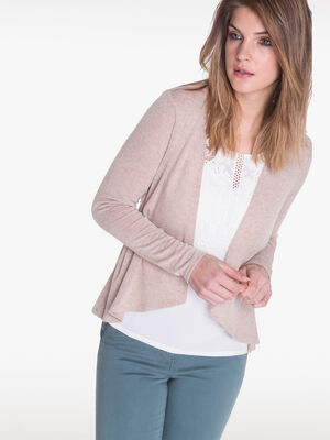 T shirt facon 2 en 1 beige femme