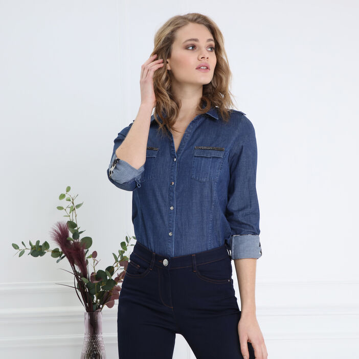 Chemise manches longues jean denim stone femme