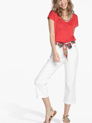 Pantalon avec ceinture foulard imprimee blanc femme