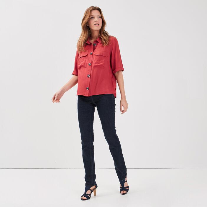 Chemise manches courtes bordeaux femme