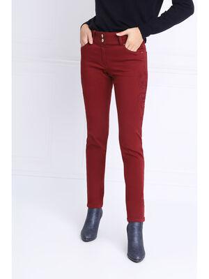 Pantalon ajuste a broderie rouge fonce femme