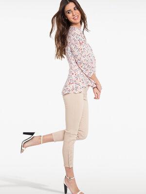 Pantalon 78eme ajuste taille haute beige femme