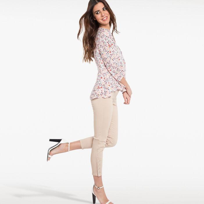 Pantalon 7/8ème ajusté taille haute beige femme