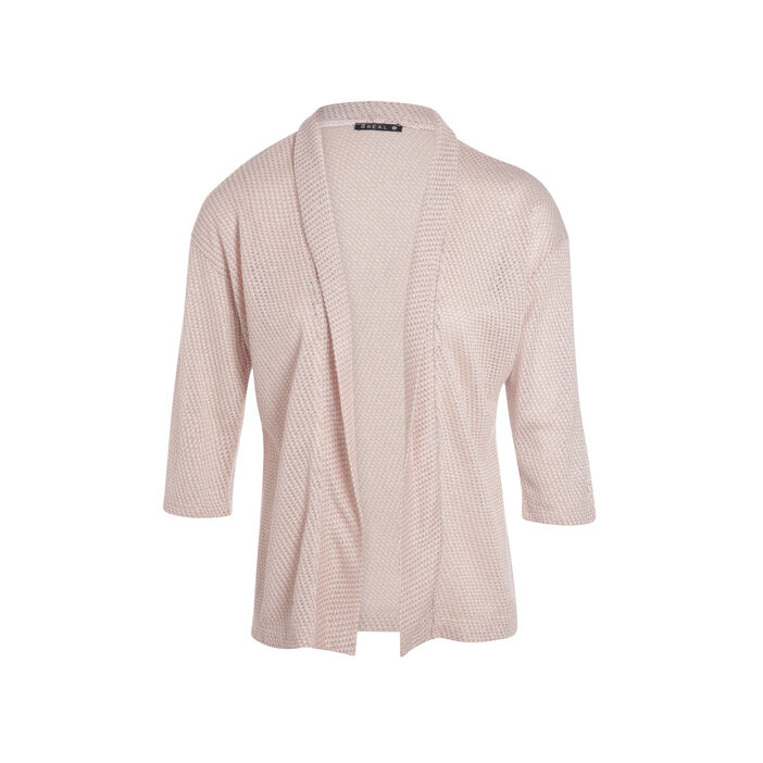 T-shirt manches 3/4 forme gilet rose clair femme