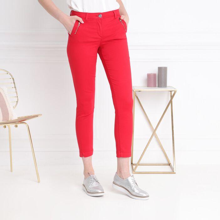 Pantalon chino zippé coloré rouge femme