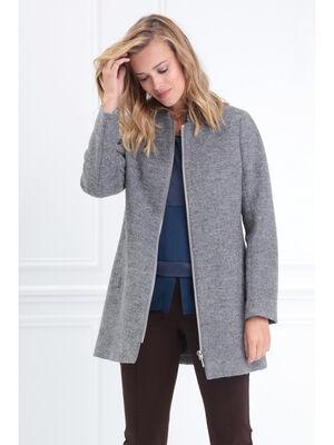 Manteau long col montant zippe gris clair femme