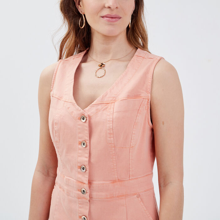 Robe droite boutonnée rose clair femme