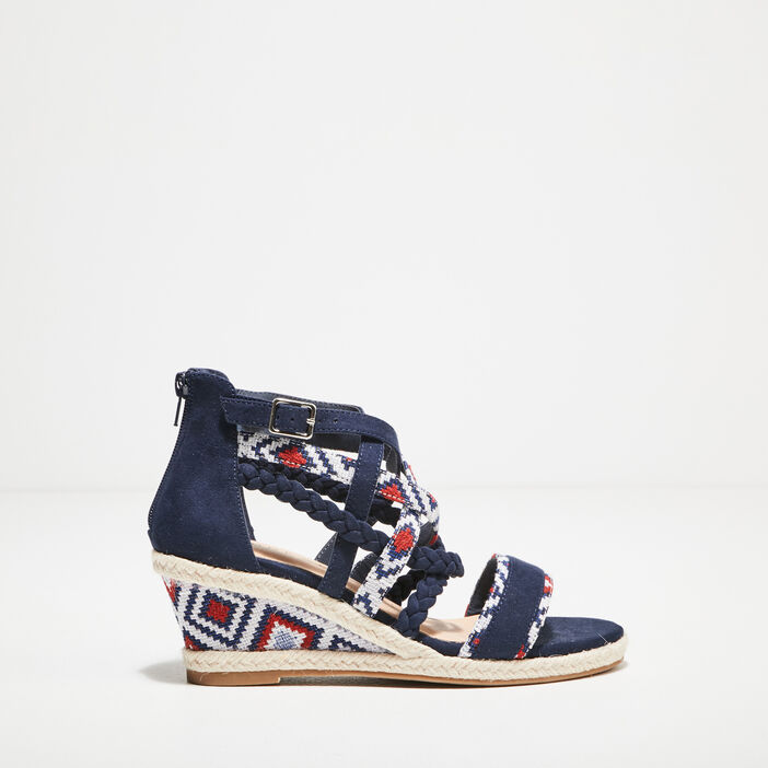 Sandales à talons bimatière bleu marine femme