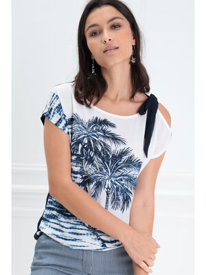T shirt manches courtes noue bleu fonce femme