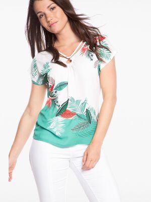 T shirt col V imprime theme tropical blanc femme