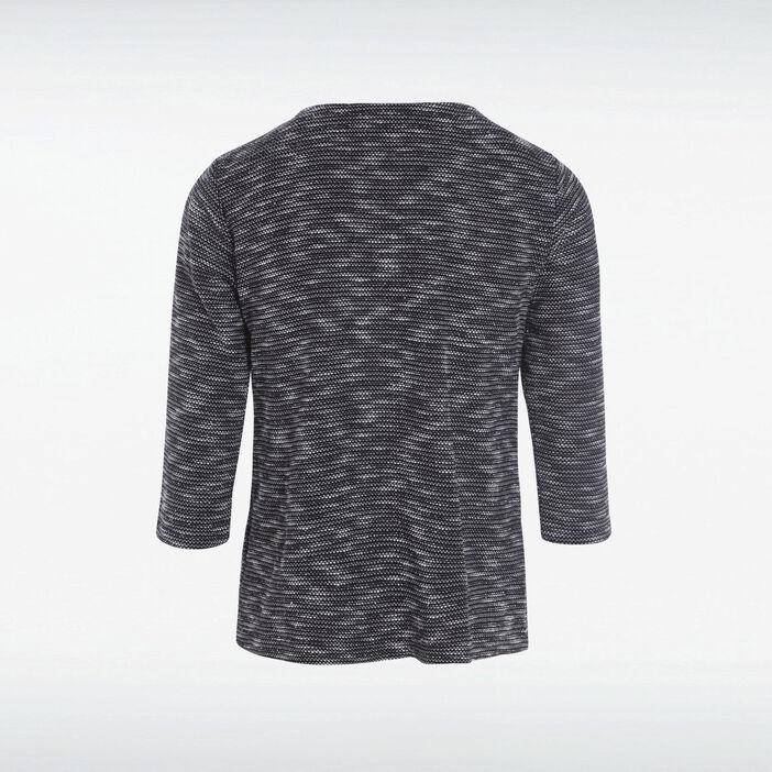T-shirt manches 3/4 2-en-1 noir femme