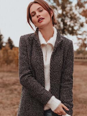 Manteau droit col montant gris clair femme