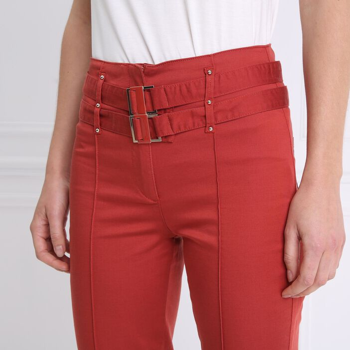 Pantalon 7/8e taille haute orange foncé femme