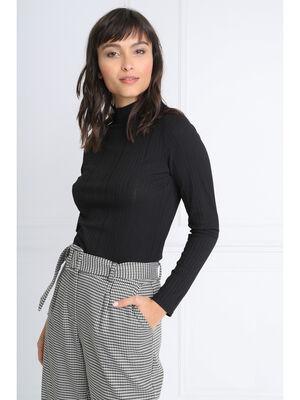 T shirt manches longues cotele noir femme