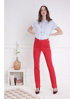 Pantalon droit taille haute rouge femme