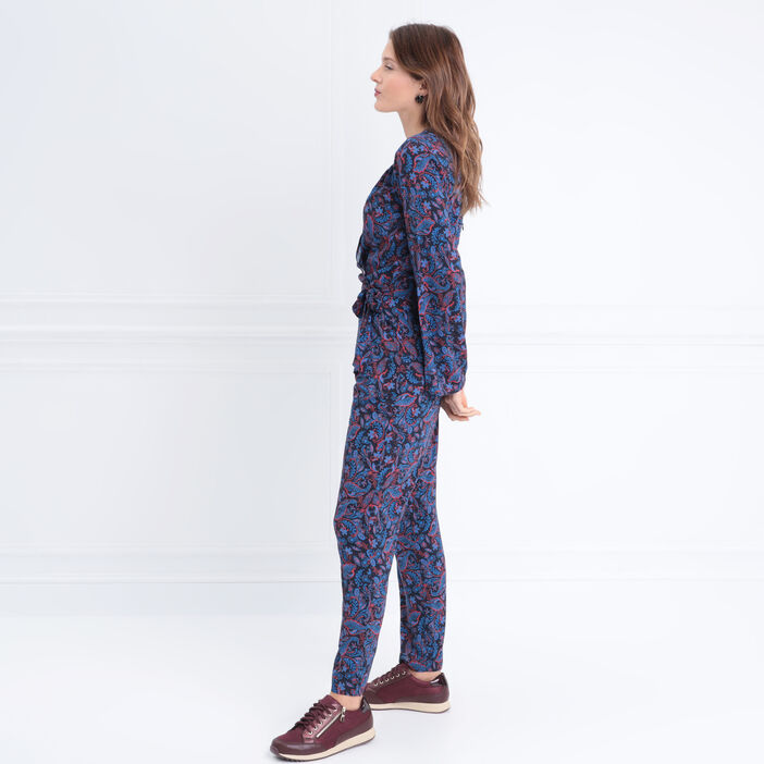 Combinaison pantalon à noeud bleu marine femme