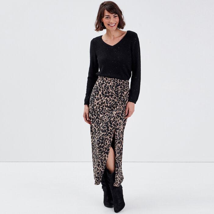 Jupe longue droite beige femme