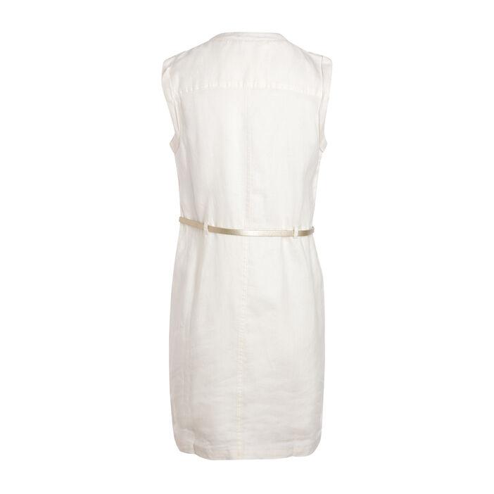 Robe courte ajustée à ceinture ivoire femme