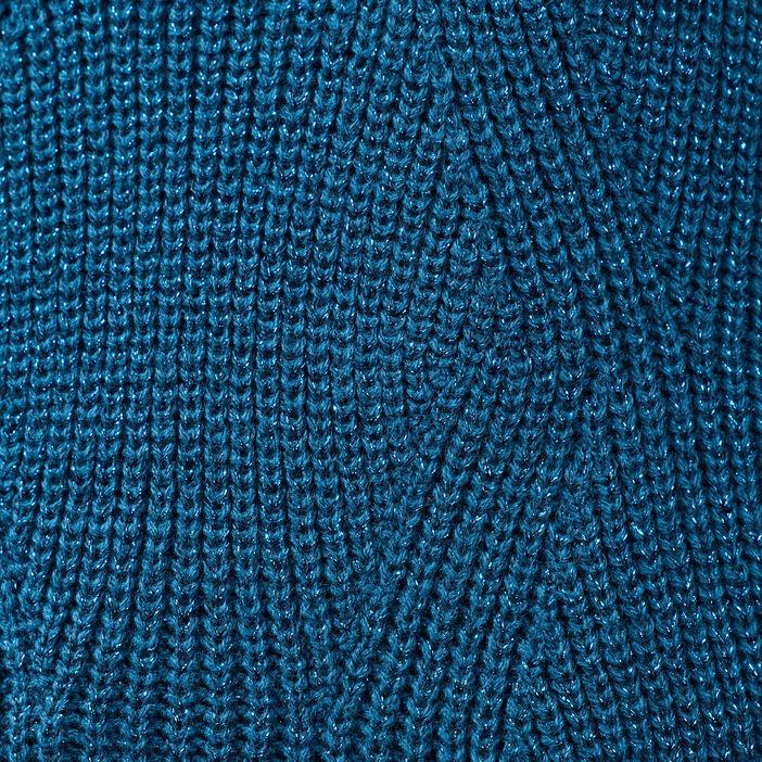 Pull fantaisie à épaules boutonnées bleu pétrole femme