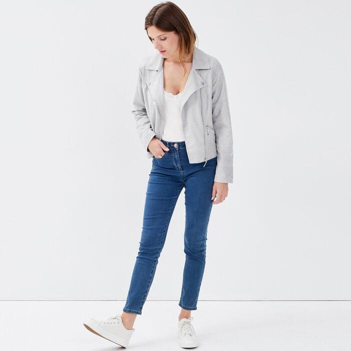 Veste droite zippée gris femme