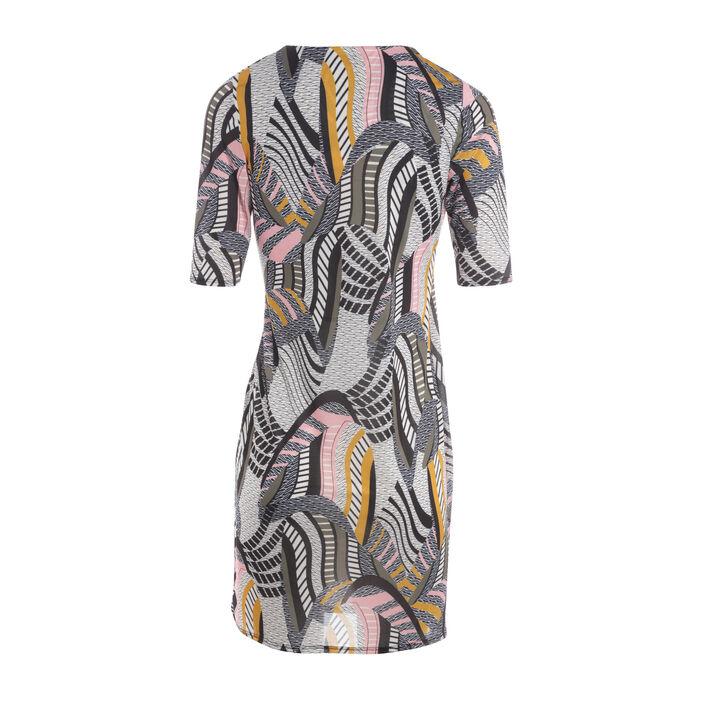 Robe courte ajustée col V multicolore femme