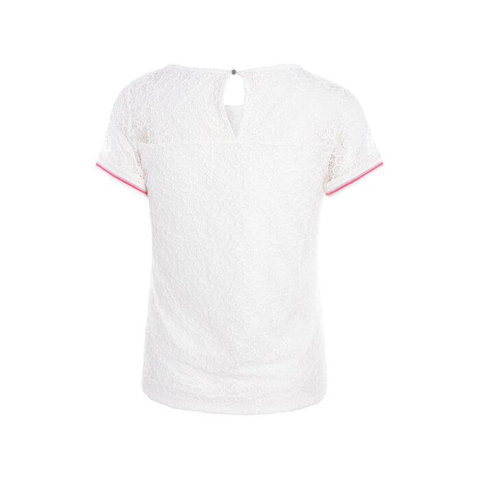 T-shirt col rond en dentelle unie ecru femme
