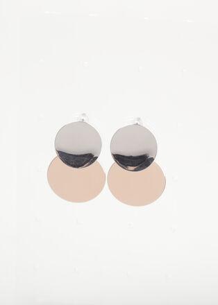 Boucles doreilles bimatiere couleur argent femme