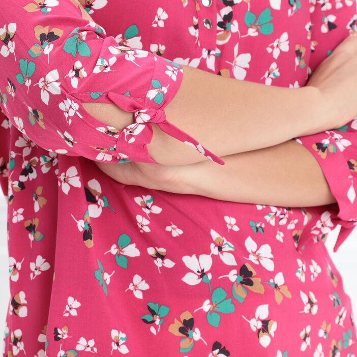 Blouse manches 3/4 à nouer rose fushia femme