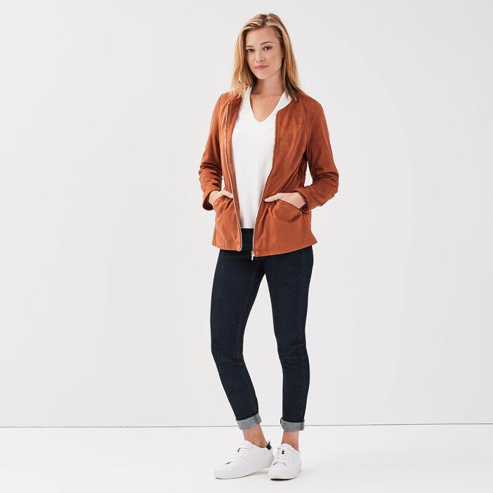 Veste droite zippée suédine marron cognac femme