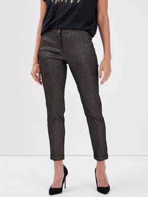 Pantalon ajuste taille basculee couleur or femme