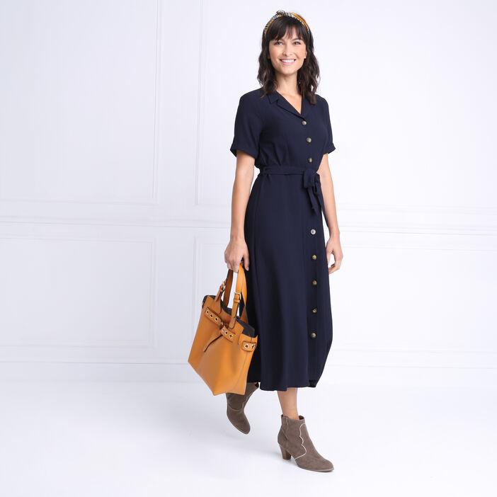 Robe chemise longue à ceinture bleu marine femme