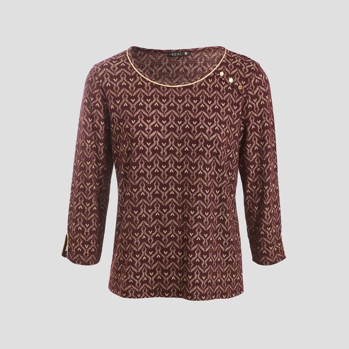 T-shirt manches 3/4 violet foncé femme