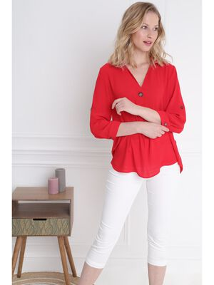 Blouse manches 34 boutonnees rouge femme