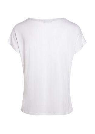 T shirt manches courtes a message ecru femme