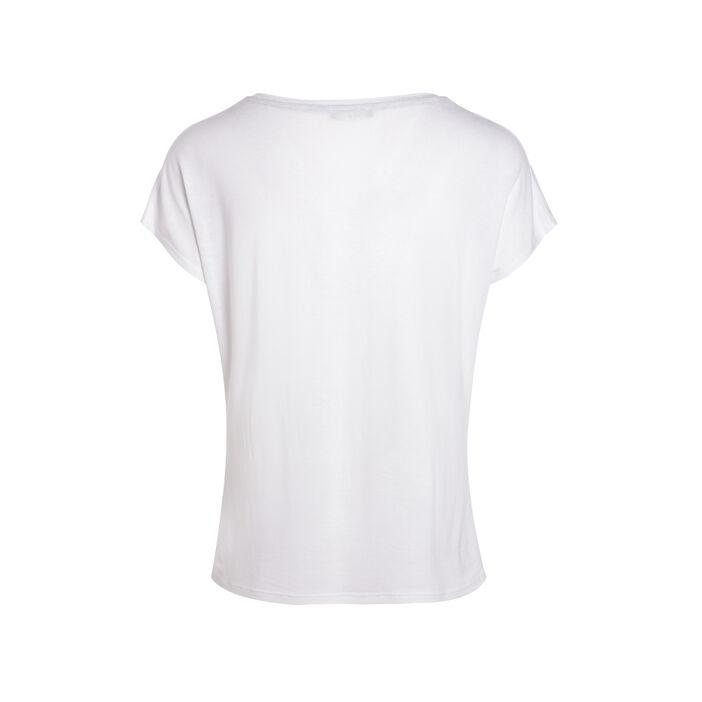 T-shirt manches courtes à message ecru femme