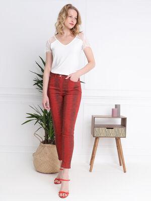 Pantalon imprime serpent orange fonce femme