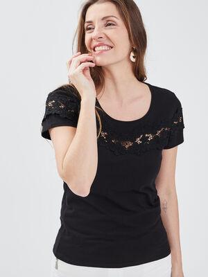 T shirt manches courtes noir femme