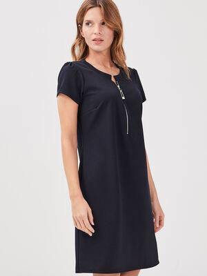 Robe pull droite zippee bleu marine femme