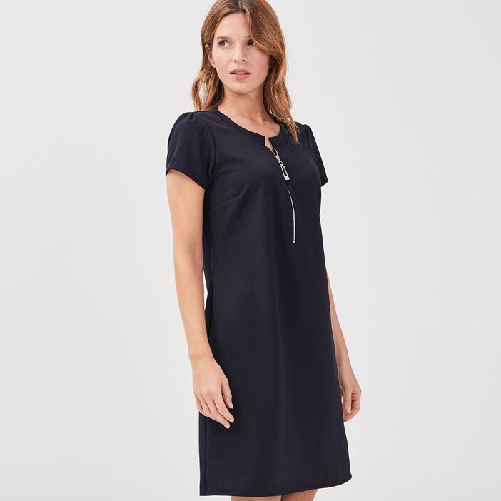 Robe pull droite zippée bleu marine femme