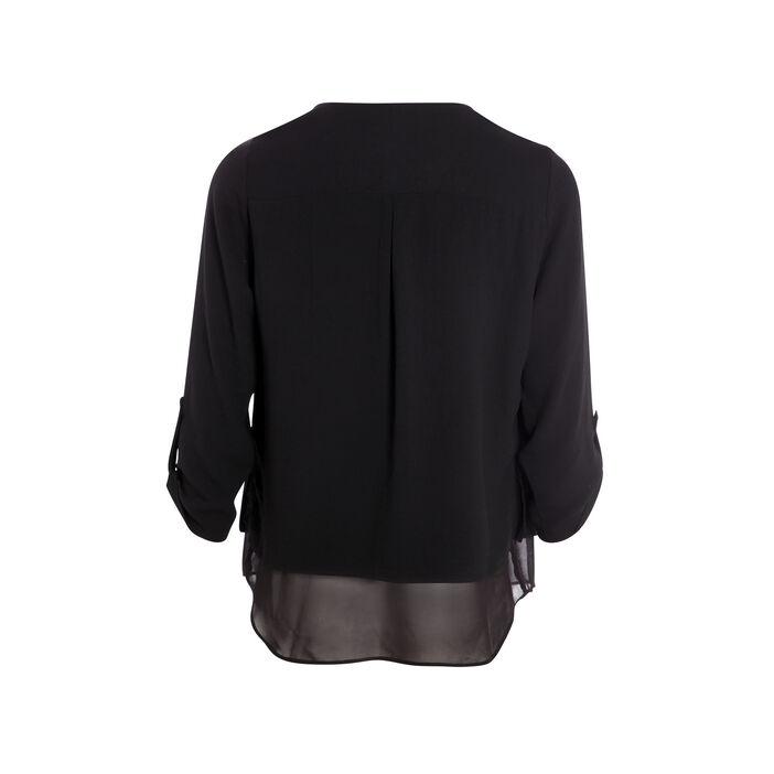 Chemise col en V bimatière noir femme