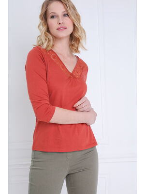 T shirt manches 34 a broderie orange fonce femme